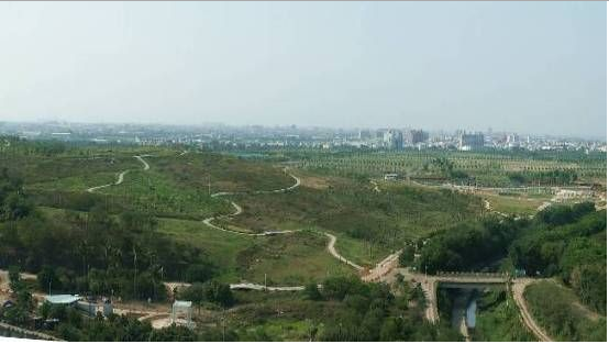 The green landscape of Phase II of the park in 2008