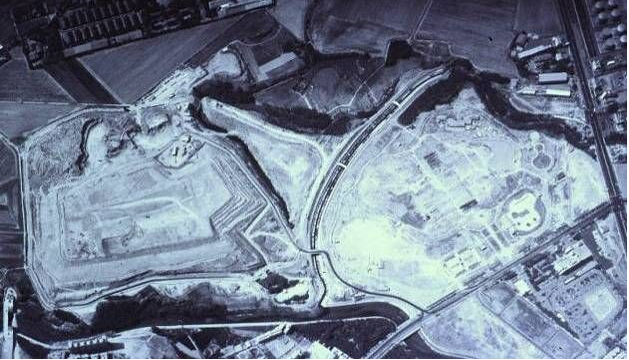 This 1995 aerial image shows the layered landfilling of Phase Two of the park